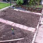 Rasenkantensteine im Gemüsebeet